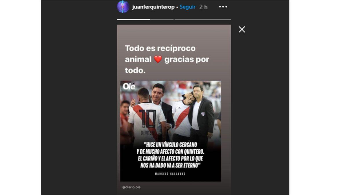 Esta es la historia que Juanfer Quintero escribió en Instagram.