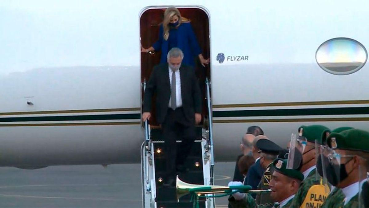 El avión de Messi en el que viajó Alberto Fernández y la comitiva presidencial
