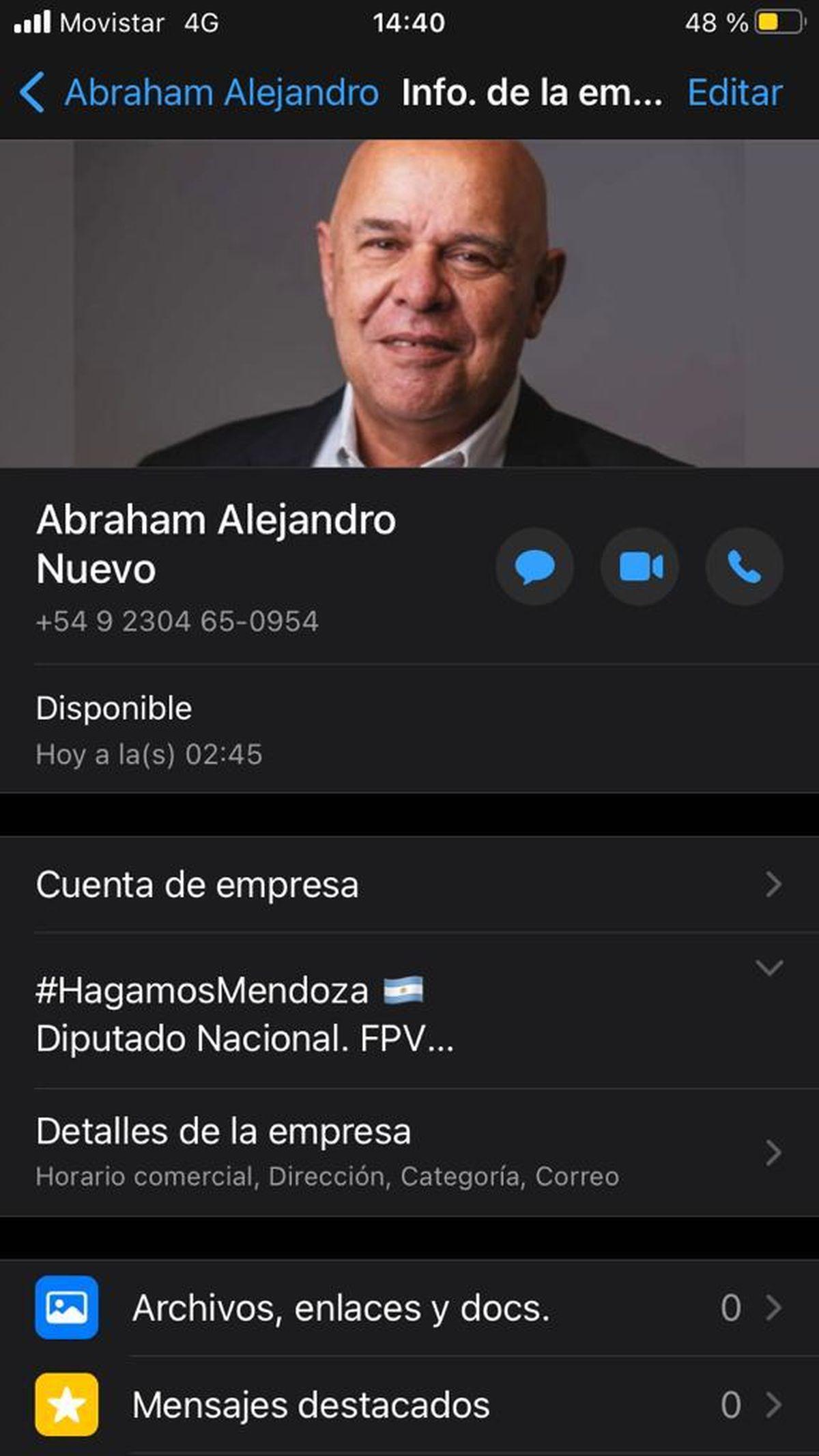 Así figura el perfil falso de Whatsapp del senador provincial