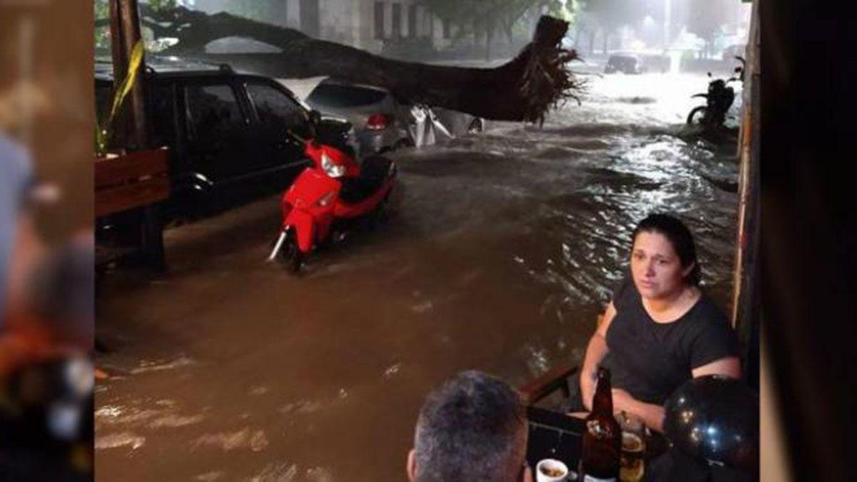 La pareja tucumana ni se inmutó con el temporal ni el árbol que aplastó a un auto.