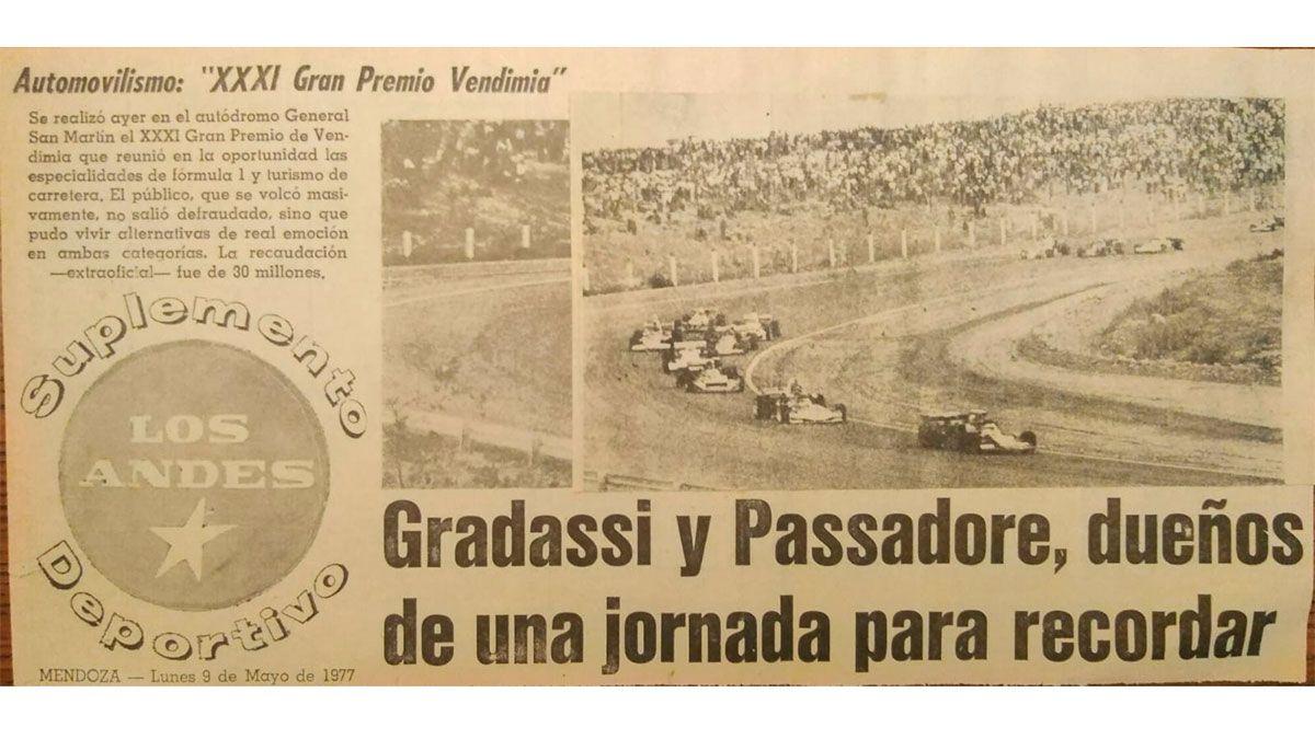 El uruguayo Passadore tuvo el honor de ganarlo en 1977 en la Mecánica Argentina Fórmula 1. Fue la 39 edición.