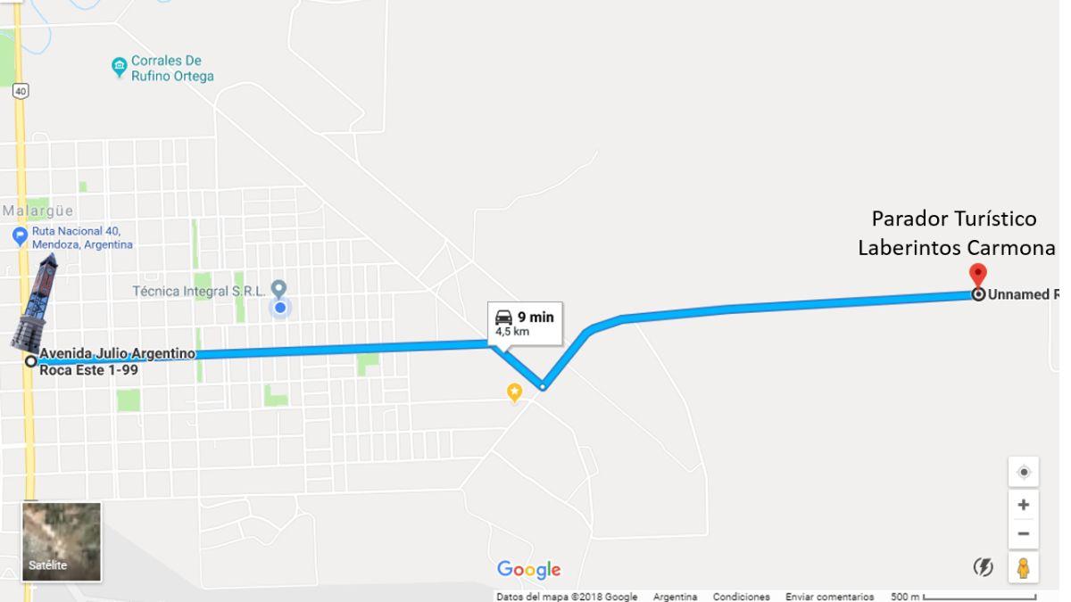 Mapa de cómo llegar a los laberintos desde la villa cabecera malargüina