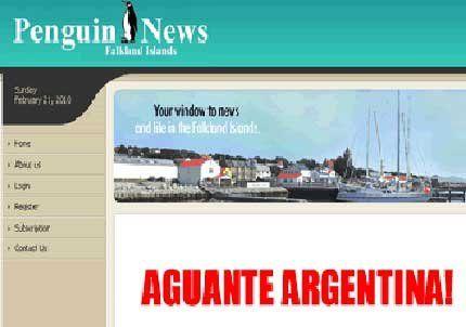 Un diario inglés de Malvinas publicó en Internet Aguante Argentina