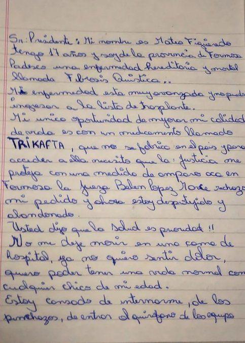 La carta de Mateo Figueredo al presidente: No me deje morir en una cama de hospital