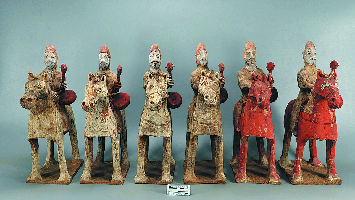 Estatuillas de cerámica desenterradas de las tumbas de Shaolingyuan