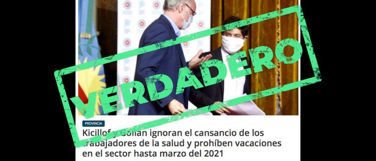 Las vacaciones de los médicos públicos de la Provincia de Buenos Aires están suspendidas hasta marzo de 2021
