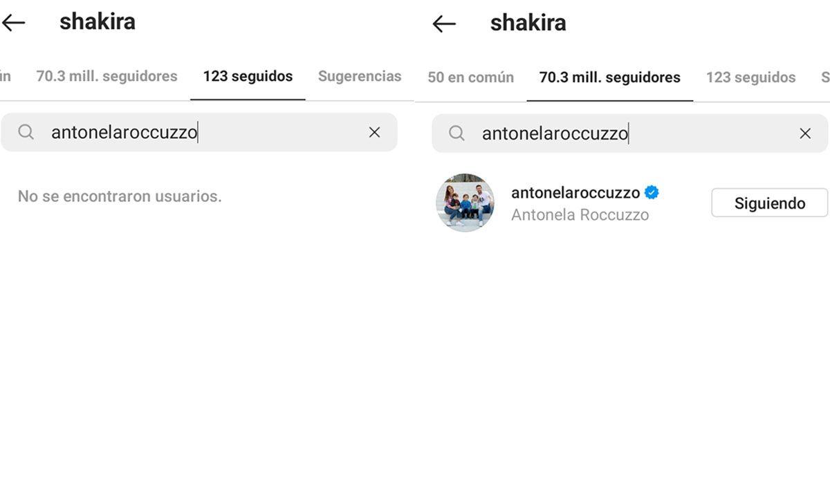 Las pruebas: Shakira no sigue a Antonela Roccuzzo en Instagram. Lionel Messi y Gerard Piqué son amigos hace muchos años.