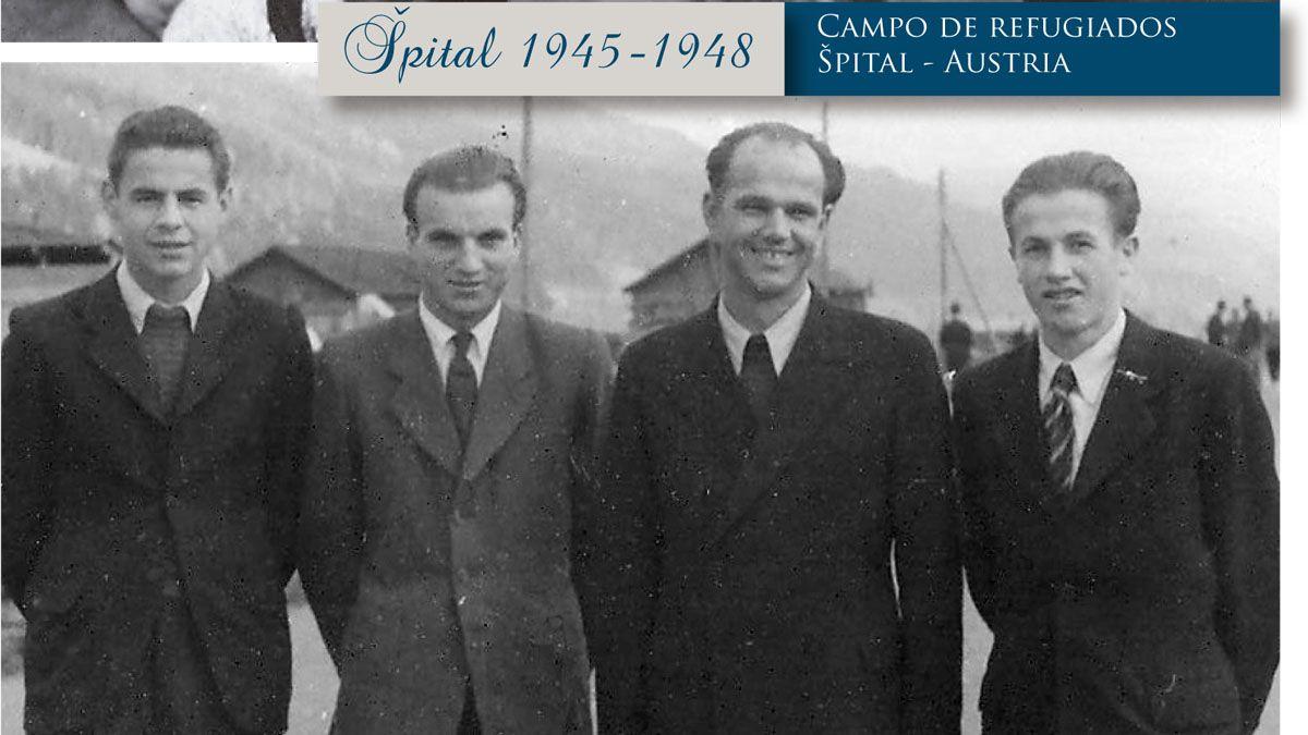 Stanko, primero a la izquierda, junto a familiares y amigos en el campo de refugiados de Austria, donde pasó casi tres años y medio, antes de venir a Argentina.