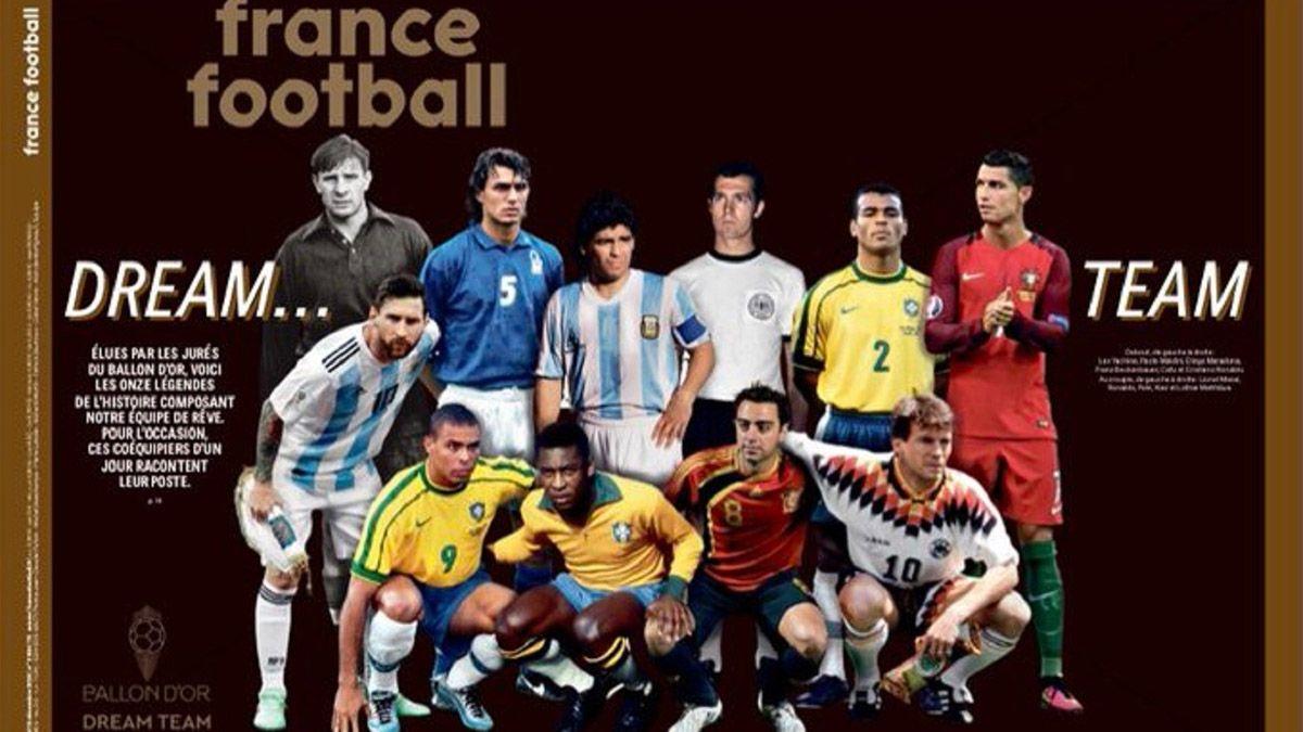 Maradona y Messi integran el mejor equipo de la historia