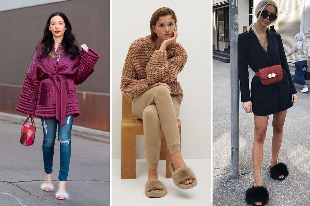 Las slippers o sandalias afelpadas se usan con todo tipo de looks