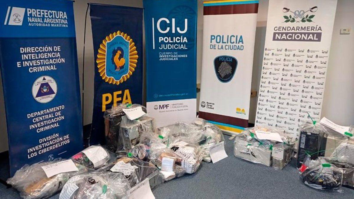 Material secuestrado en el operativo Luz de la Infancia.