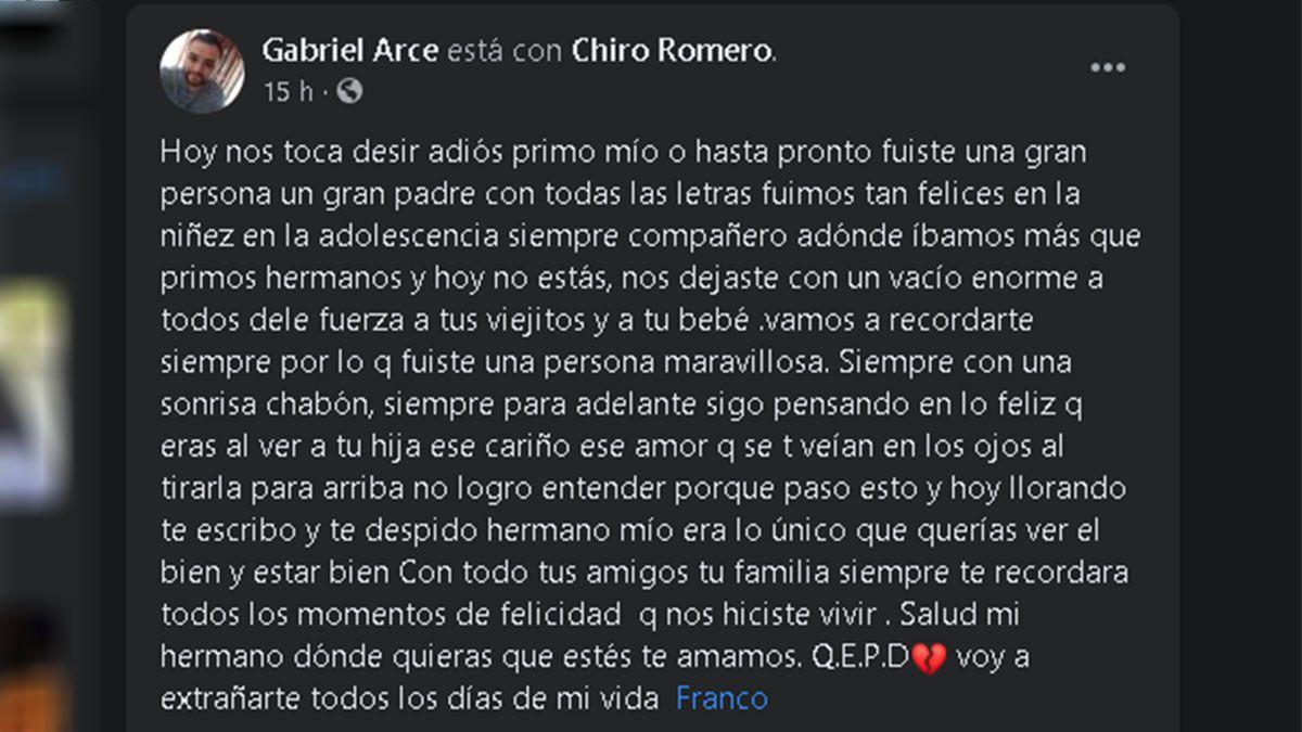 Mensajes de dolor en Facebook por el crimen de Franco Pastrán