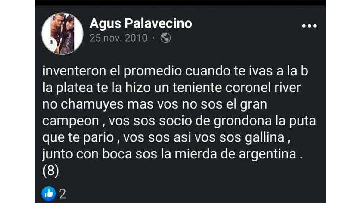 Agustín Palavecino y un posteo viral contra River