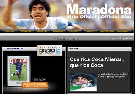 Hackearon la web de Maradona