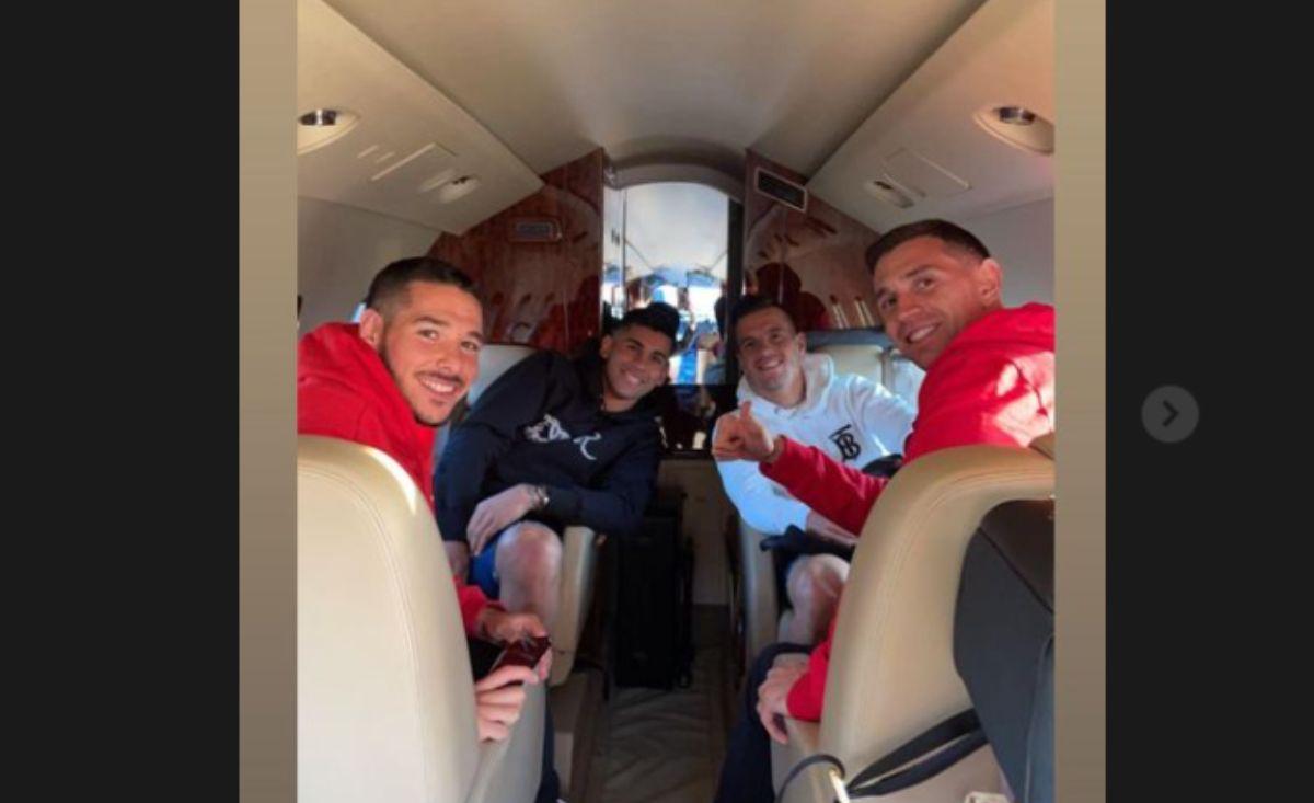 Tras la victoria del Tottenham, Lo Celso, Romero, Martínez y Buendía viajaron desde Londres.