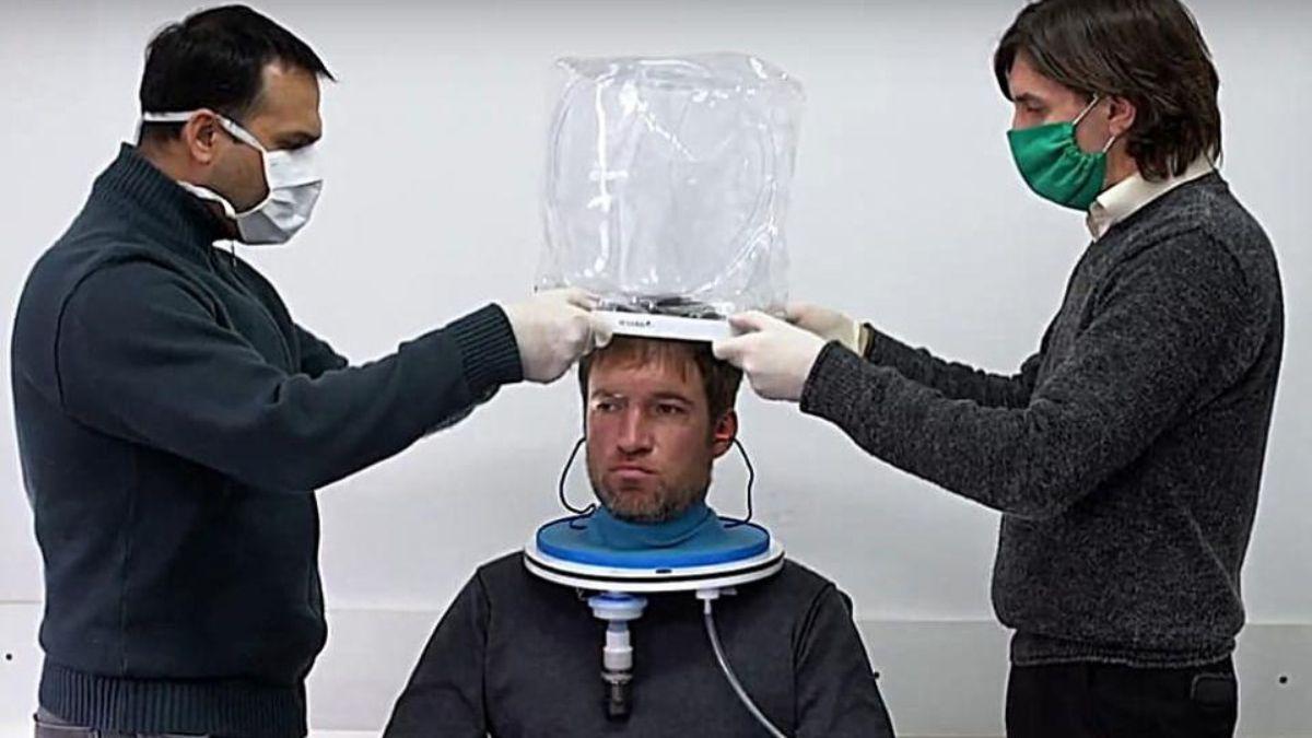 Ejemplo del sistema de respiradores tipo escafandras o cascos de oxígeno