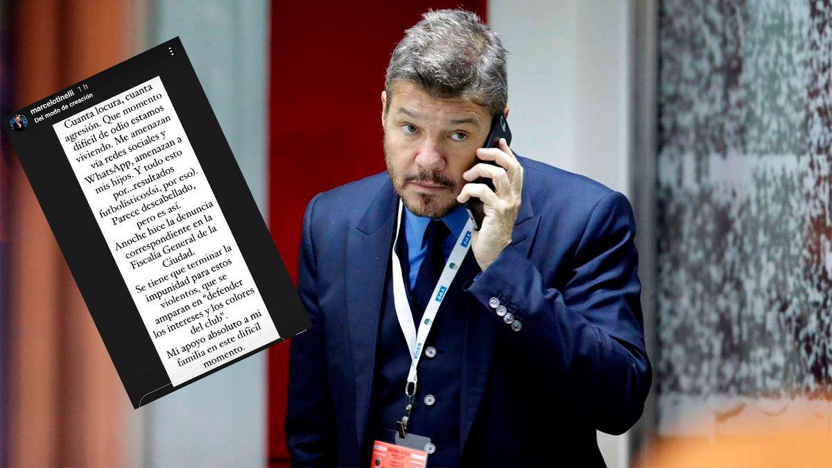 Tinelli denunció amenazas por el mal momento de San Lorenzo