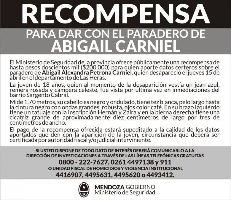 Caso Abigail Carniel: marcharán en reclamo de su aparición con vida