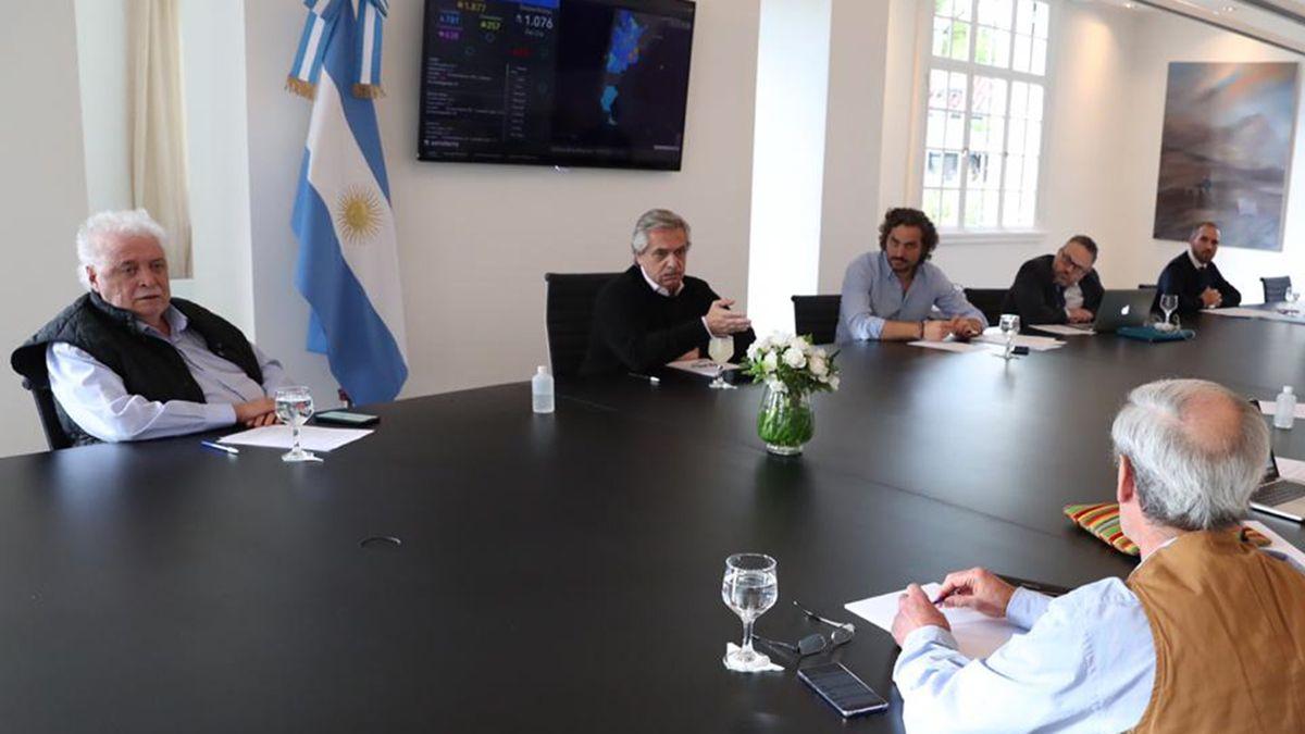Alberto Fernández durante una reunión de Gabinete.