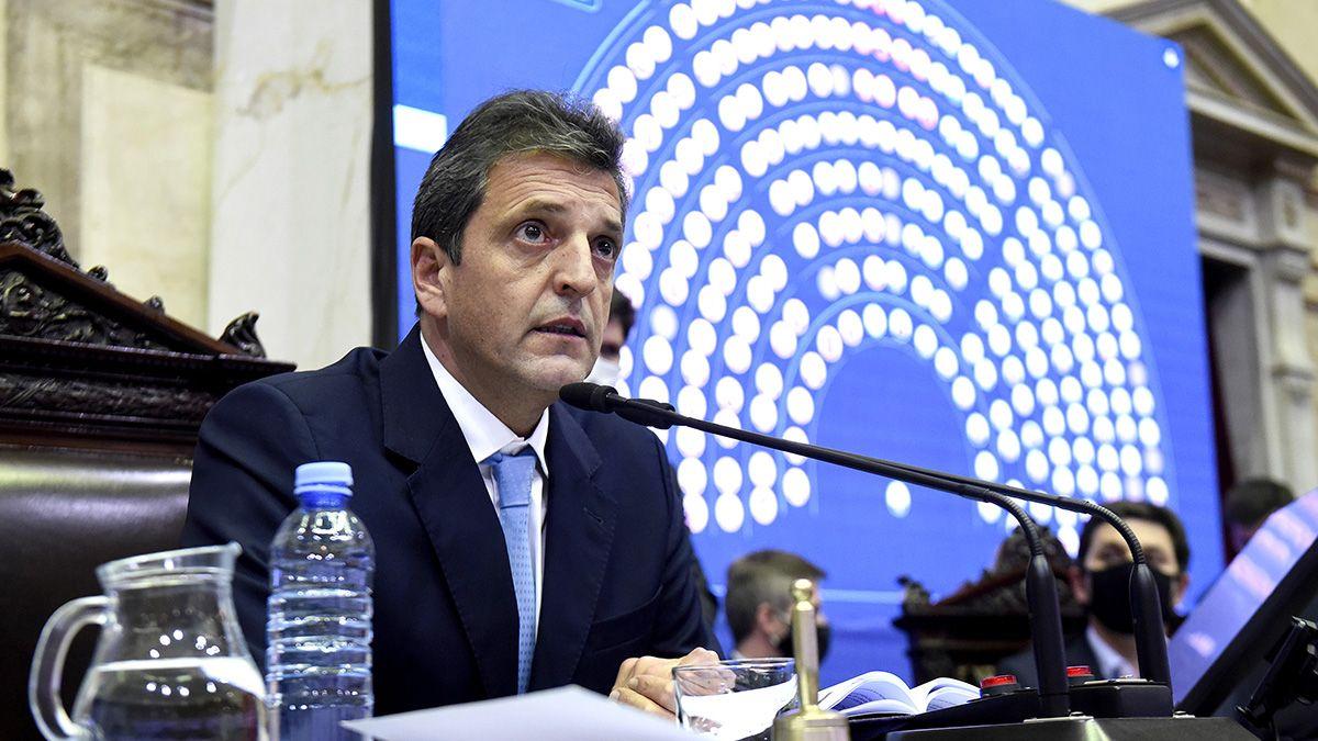 Sergio Massa preside la sesión de la Cámara de Diputados. Hoy en comisiones se debate el proyecto sobre el fortalecimiento de la sostenibilidad de la deuda pública.