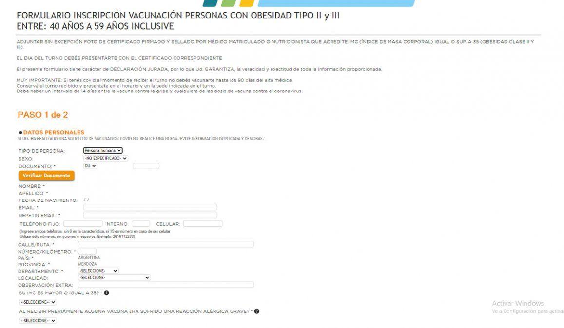 Vacunación Covid: abrió la inscripción para mayores de 40 con obesidad