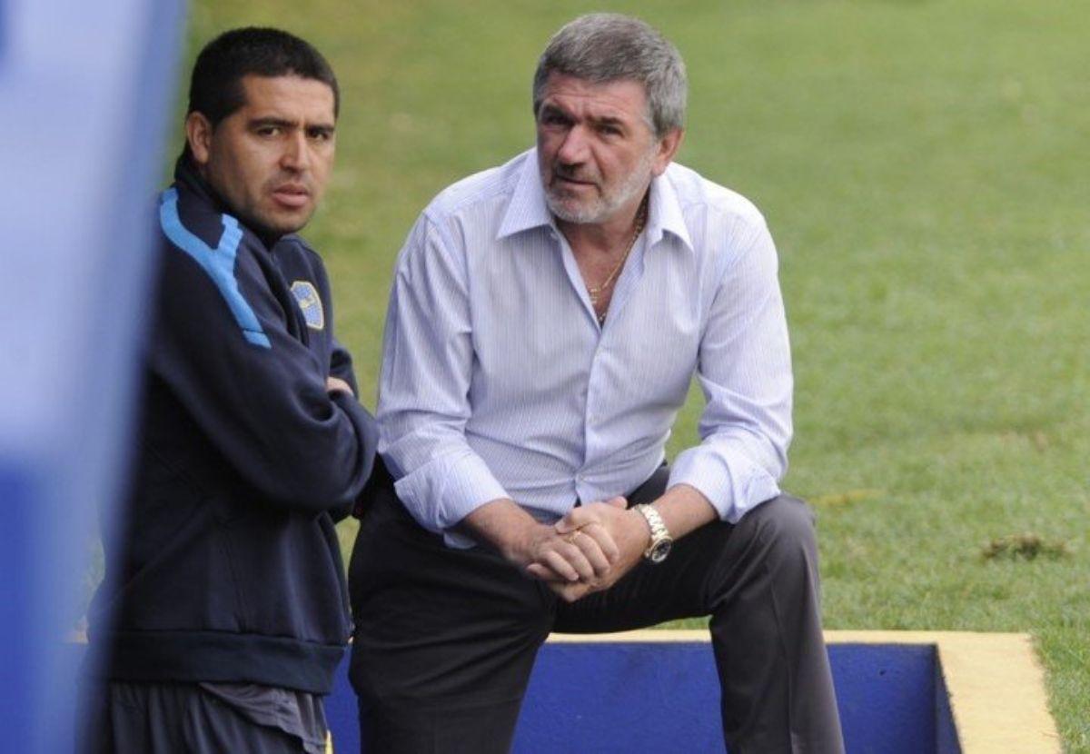 Otros tiempos: Juan Román Riquelme jugador y José Beraldi dirigente de Boca.
