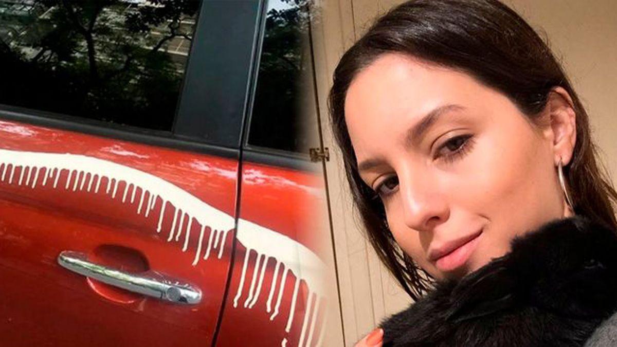 Clara Darín y su auto manchado.