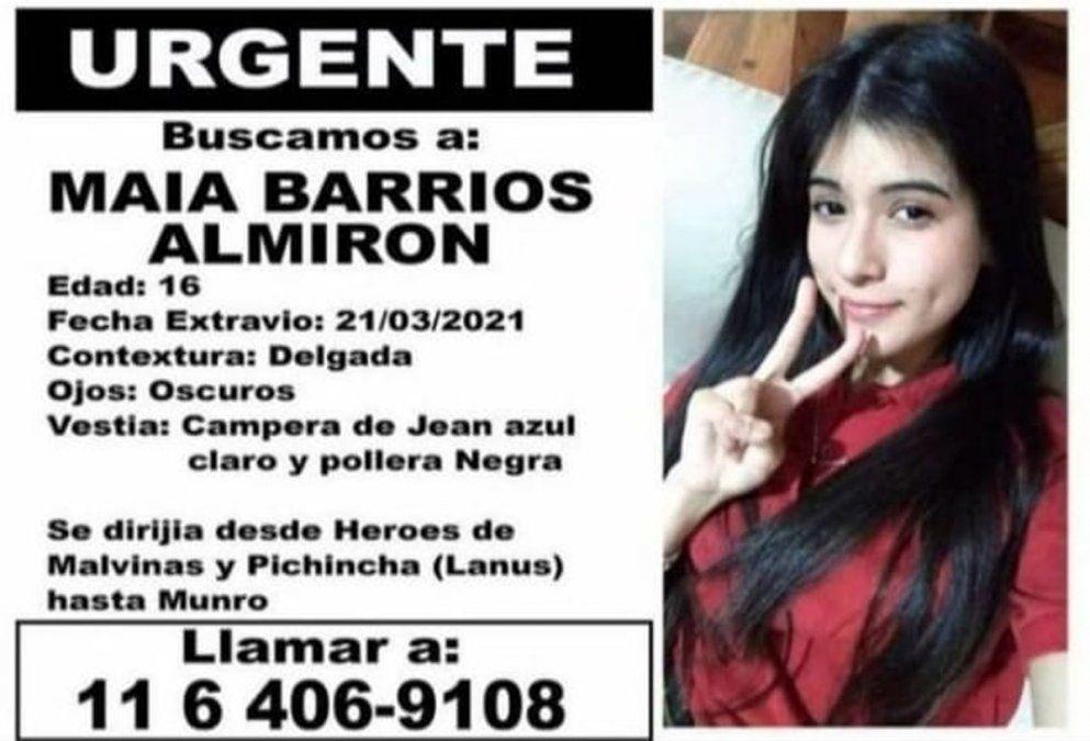 Maia Barrios Almirón salió para encontrarse con un chico y está desaparecida