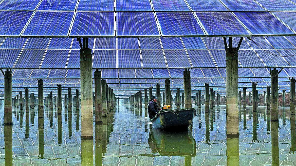 Un trabajador se desplaza en un bote debajo de una planta de energía fotovoltaica en Xinghua