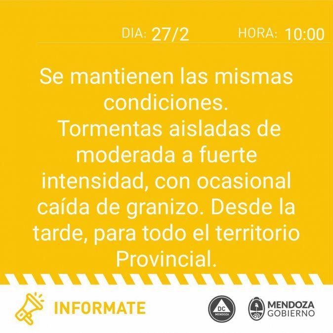 Alerta meteorológico por tormentas y granizo en Mendoza