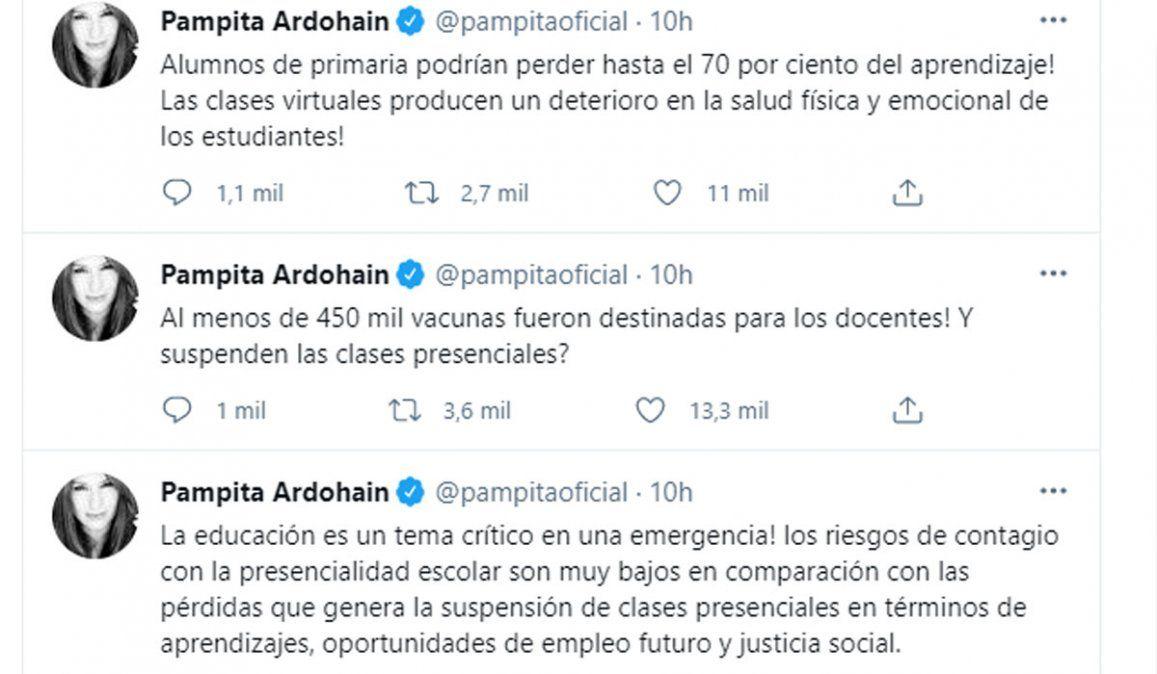 Pampita, furiosa, encabezó la protesta de famosas por la suspensión de clases presenciales