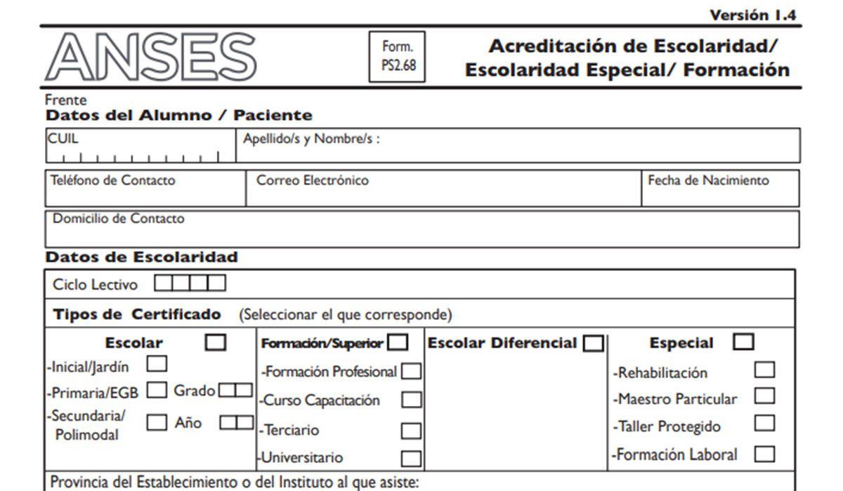 Formulario 2.68 de ANSES (Certificado de Escolaridad) para el cobro de la Ayuda Escolar 2021