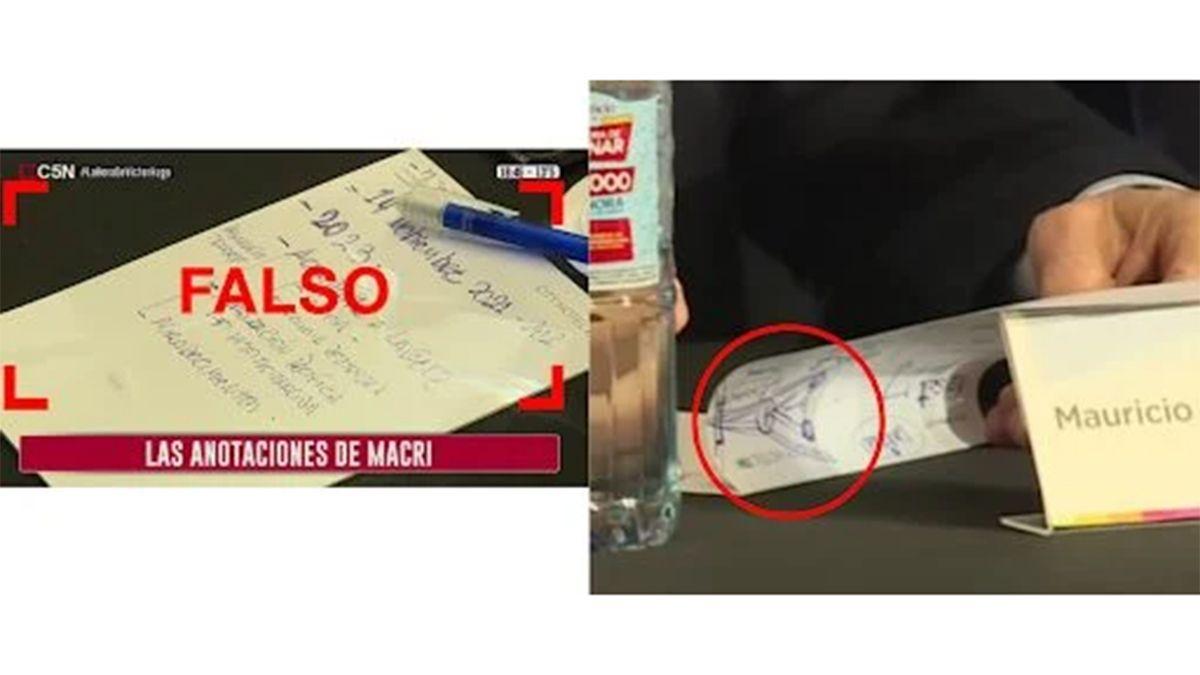 Las anotaciones atribuidas a Macri por el canal no coinciden con las que sí se ven escritas por Macri durante el mismo corte de C5N, segundos antes.
