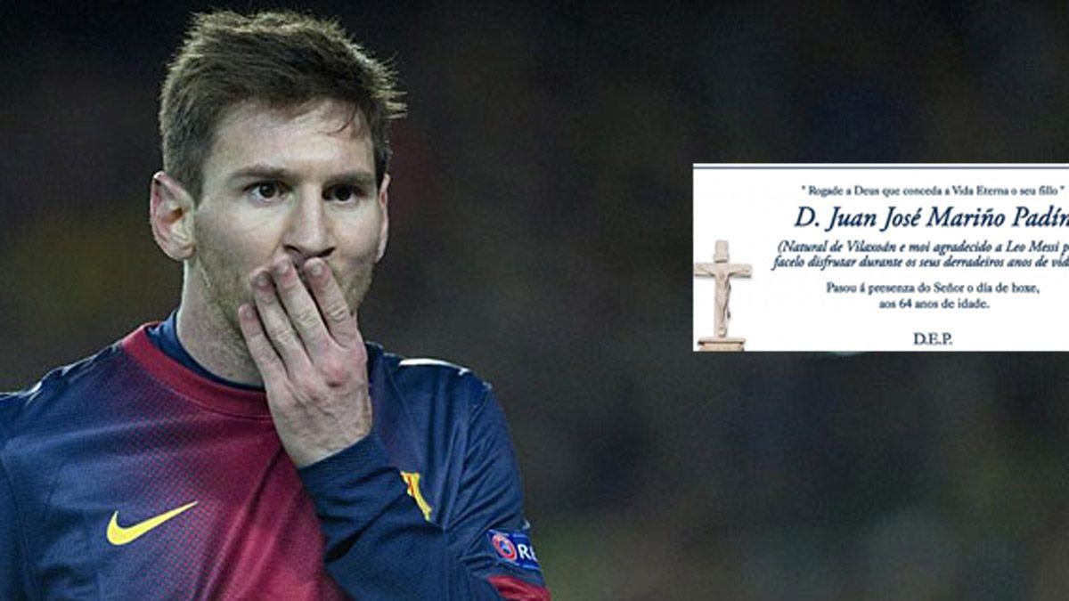 Messi y un mensaje inesperado en un aviso fúnebre
