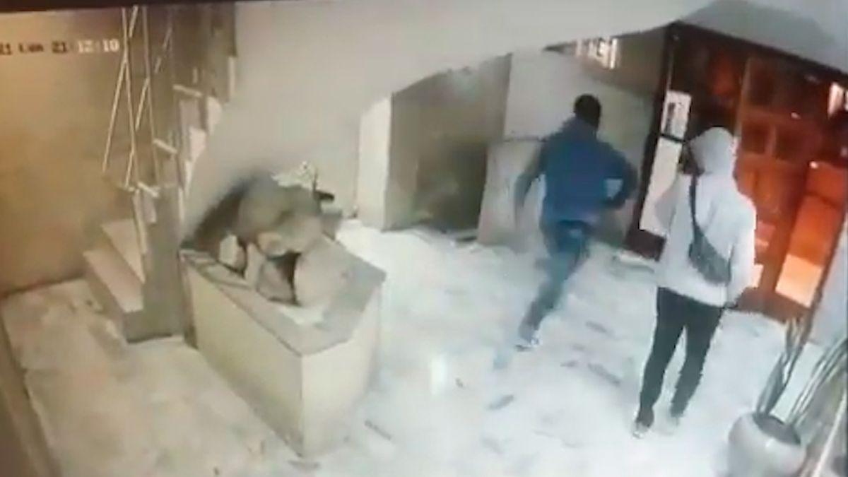 Ataque artero. Video: siguió y apuñaló a su vecino en el hall del edificio.