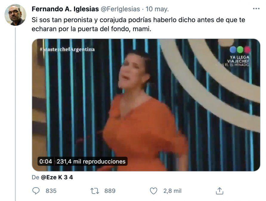 Andrea Rincón gritó Viva Perón y se cruzó con Fernando Iglesias: Está gagá