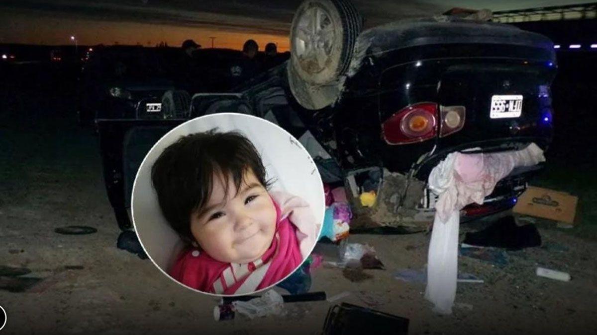 Milagro. Una bebé quedó sonriendo tras haberse dado vuelta en un auto y salir despedida de él.
