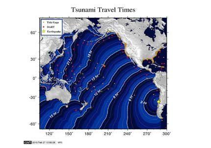 Olas de tsunamis atraviesan el Pacífico