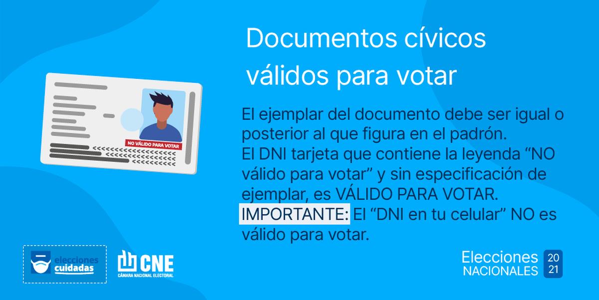 El elector no podrá votar con un ejemplar del DNI anterior al que figura en el padrón