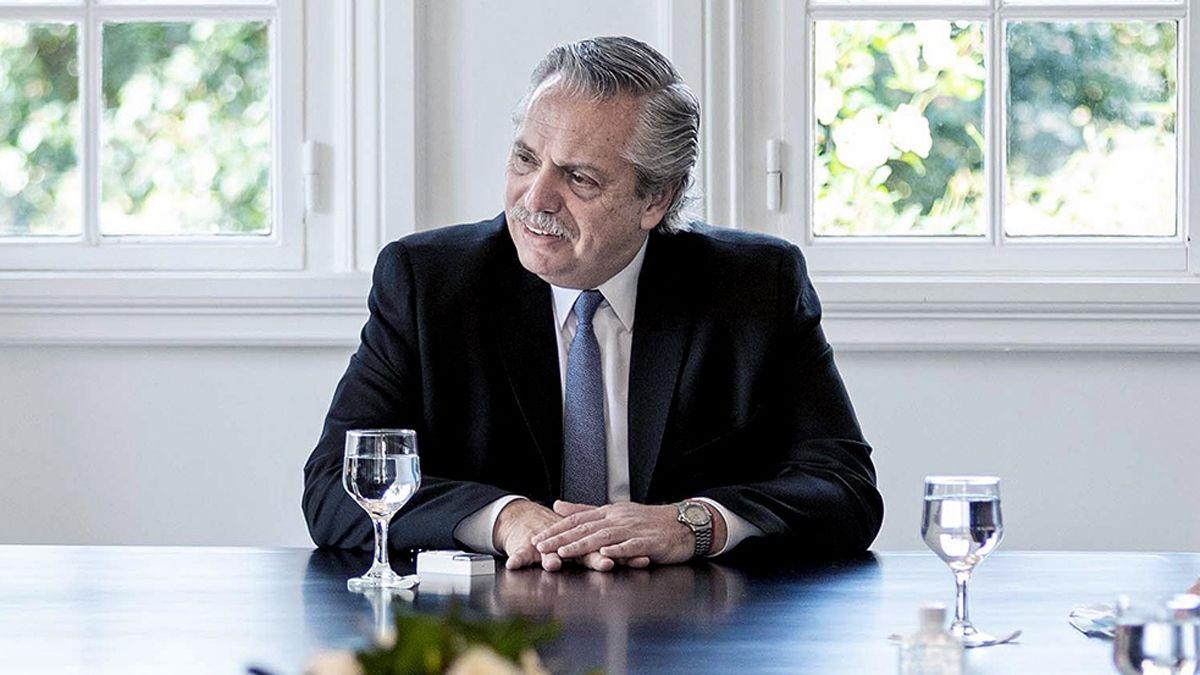 Alberto Fernández en Olivos.