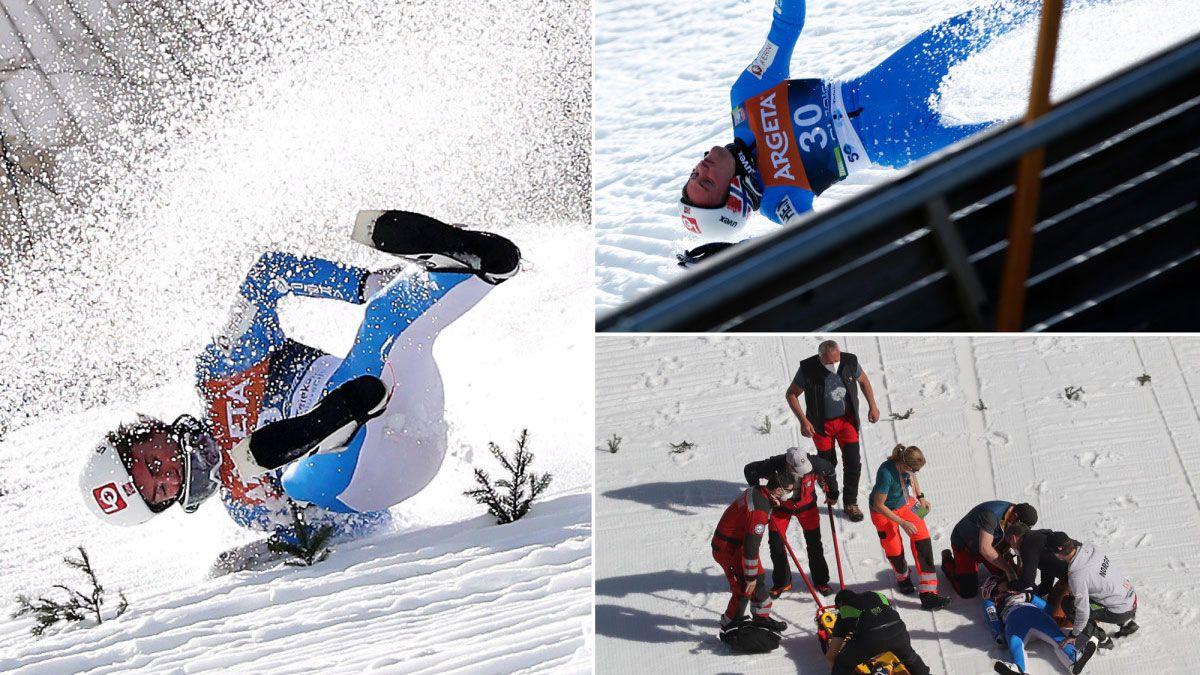 En la Copa del Mundo de saltos de esquí hubo una gran caída