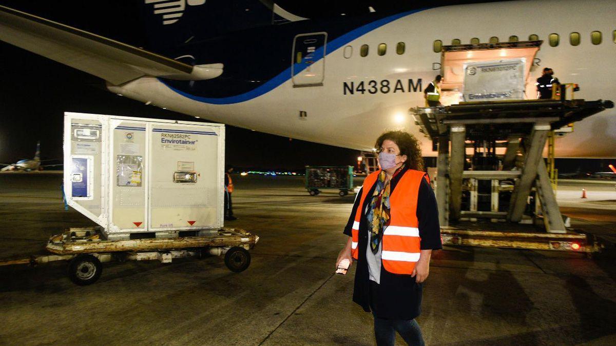 La ministra de Salud de la Nación, Carla Vizzotti, fue a Ezeiza a recibir el nuevo cargamento de vacunas AstraZeneca.