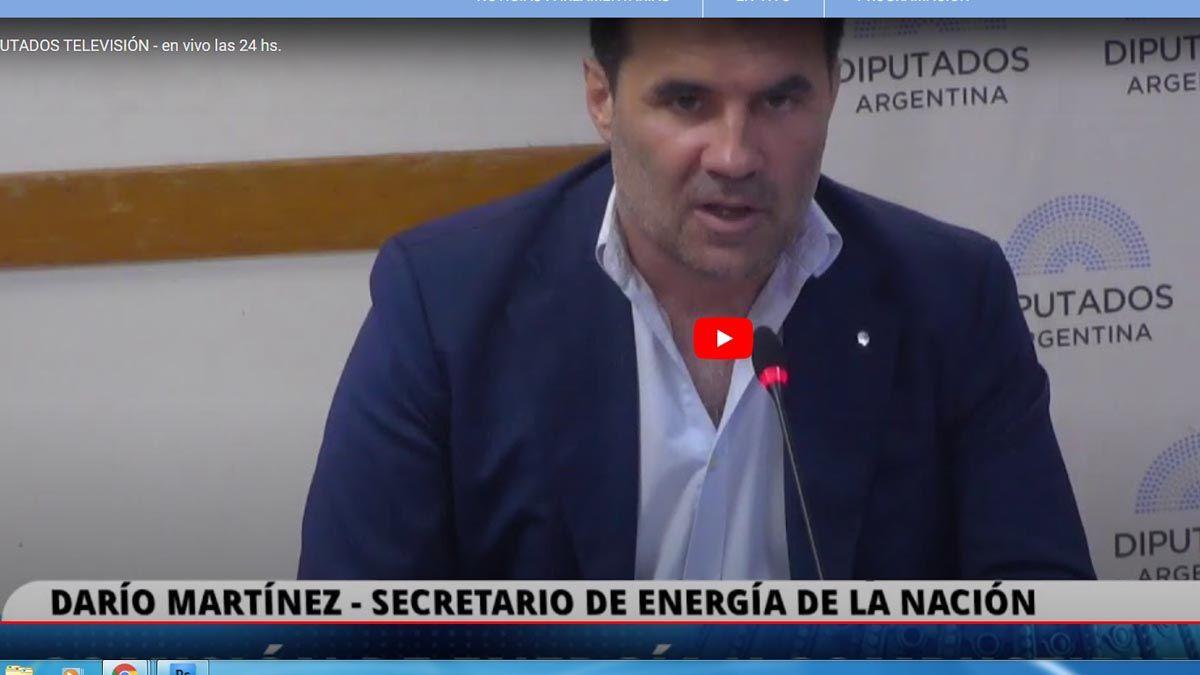 Diputados en vivo: expone el secretario de Energía de la Nación, Darío Martínez