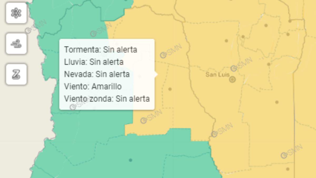 Mapa del alerta amarilla emitido por el Servicio Meteorológico Nacional para este jueves en Mendoza.
