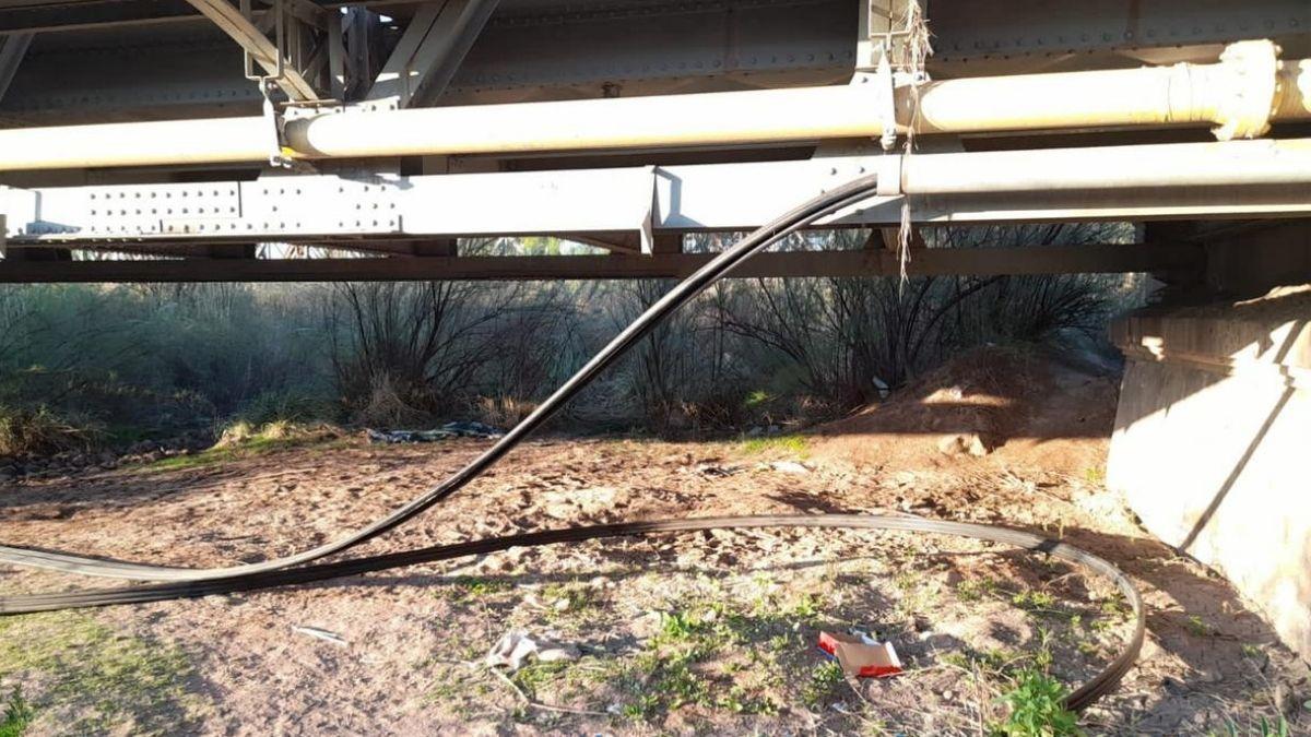 El tramo donde fueron cortados los cables, en la zona de Palmira