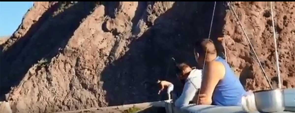Un hombre en estado de ebriedad debió ser rescatado en Valle Grande luego de que se tirara al agua desde un paredón.