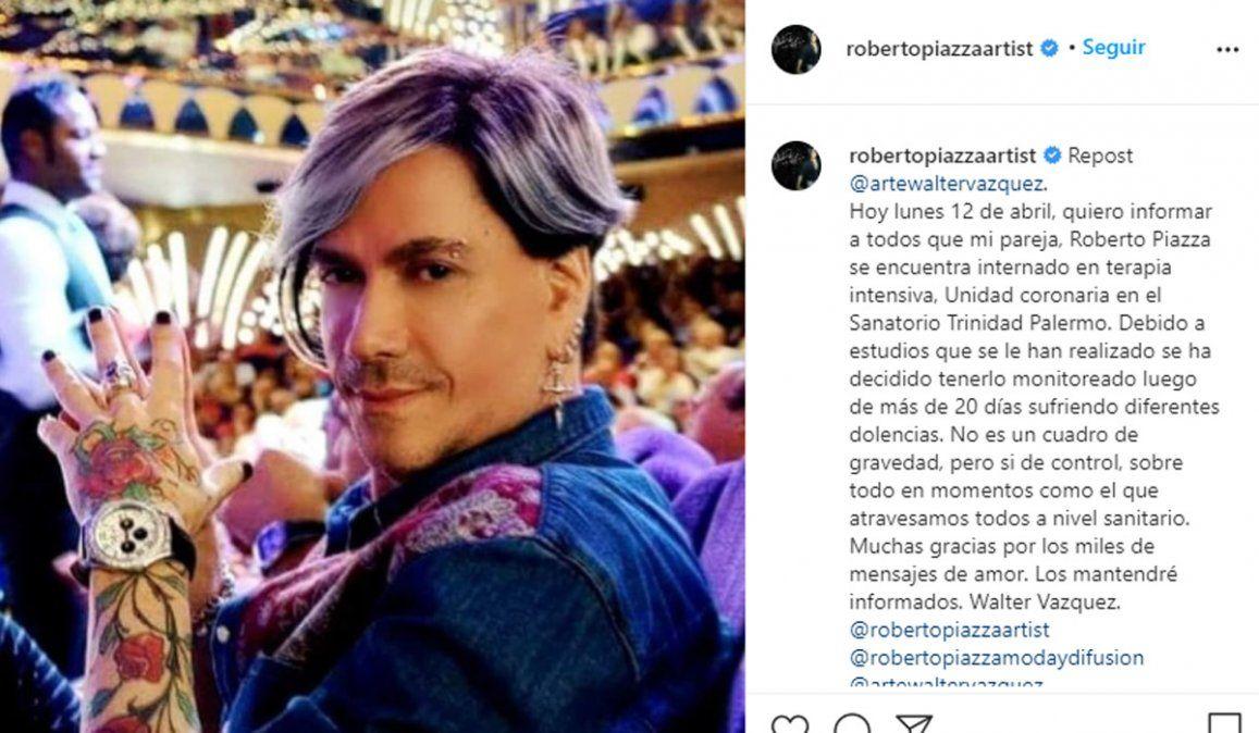 Roberto Piazza entró a terapia intensiva
