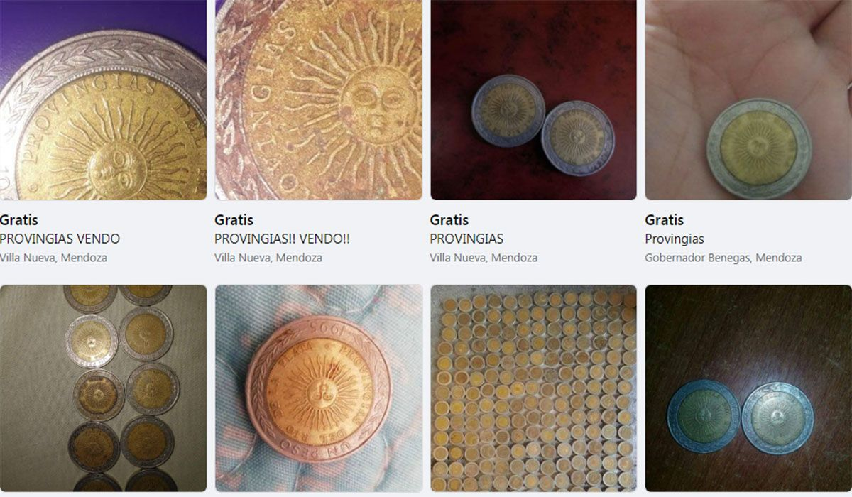 """En Mendoza, a través del MarketPlace de Facebook, se venden las monedas de $1 que dicen """"provingias"""""""