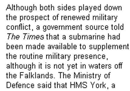 The Times dijo que Gran Bretaña enviará un submarino a Malvinas