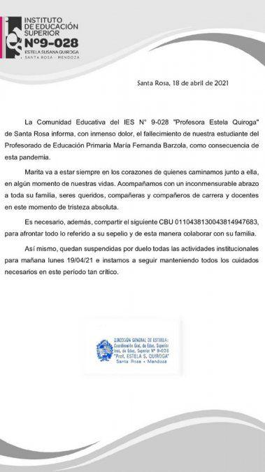 Conmoción por la muerte por coronavirus de una estudiante en Rivadavia y Santa Rosa